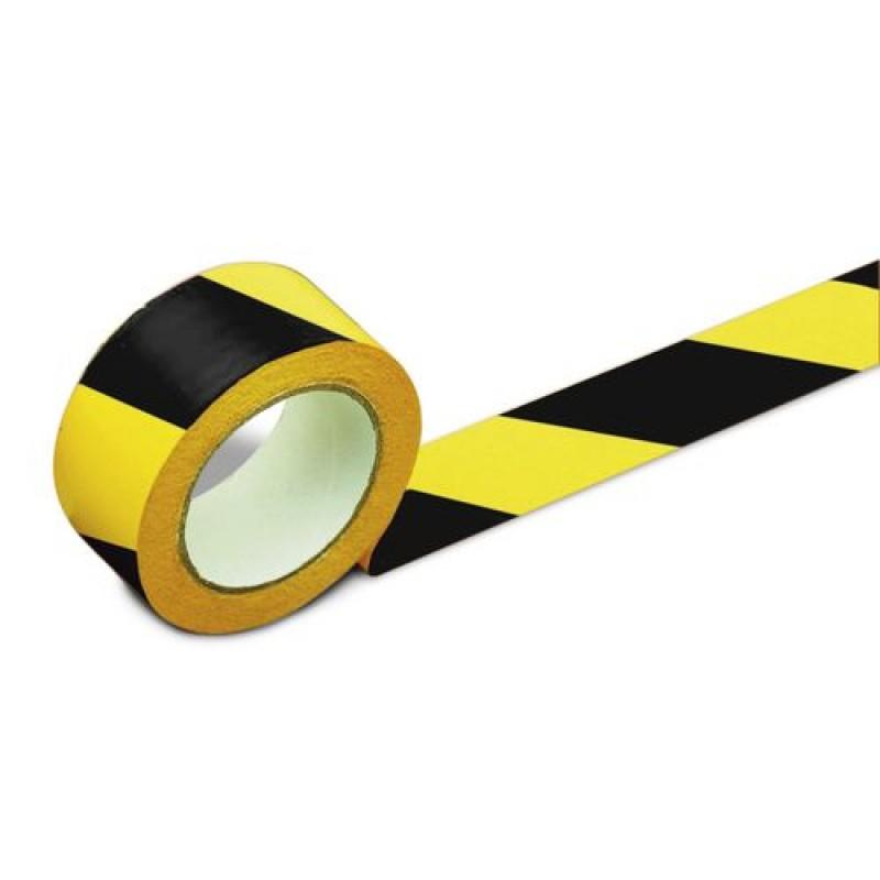 Rouleau adhésif jaune/noir pour marquage au sol 50 mm de largeur