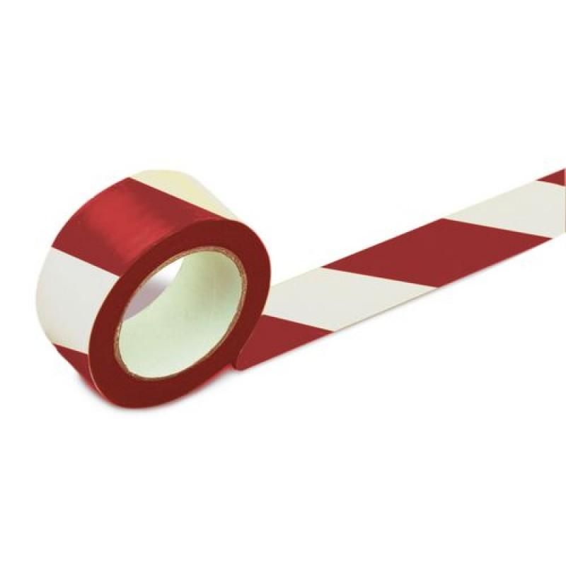 Rouleau adhésif rouge/blanc, pour marquage au sol 50 mm de largeur