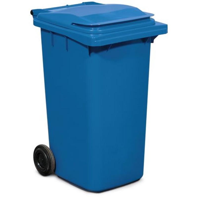 Conteneur à déchets, équipé de 2 roues, couleur bleue