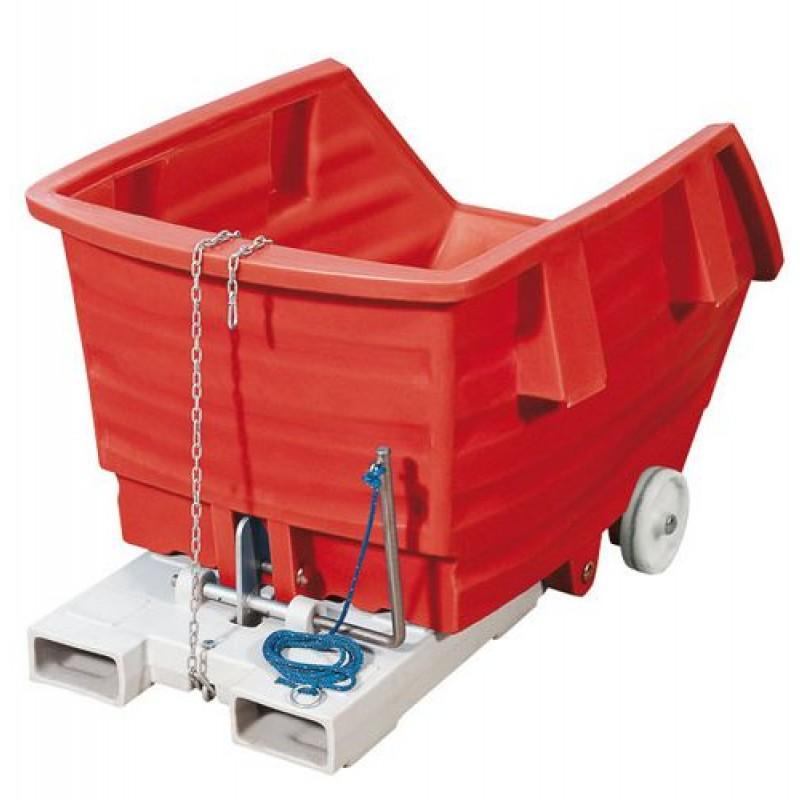 Chariot benne basculante rouge en PE, 300 litres