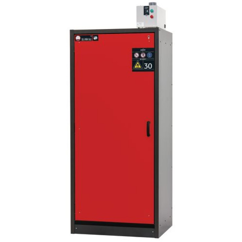 Armoire de sécurité, L = 900 mm, avec 3 étagères, coupe-feu 30 min, rouge