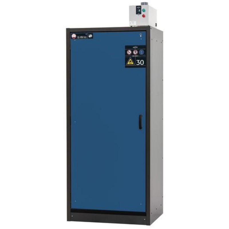 Armoire de sécurité, L = 900 mm, avec 3 étagères, coupe-feu 30 min, bleue