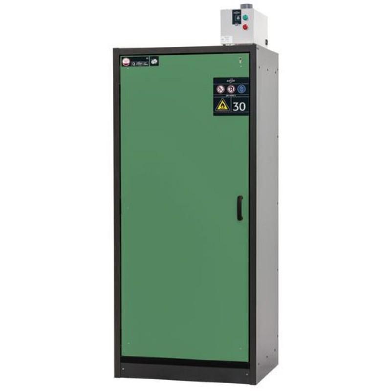 Armoire de sécurité, L = 900 mm, avec 3 étagères, coupe-feu 30 min, verte