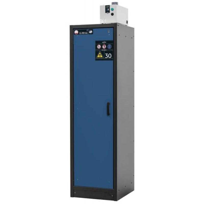 Armoire de sécurité L = 600 mm, avec 3 étagères, coupe-feu 30 min, bleue