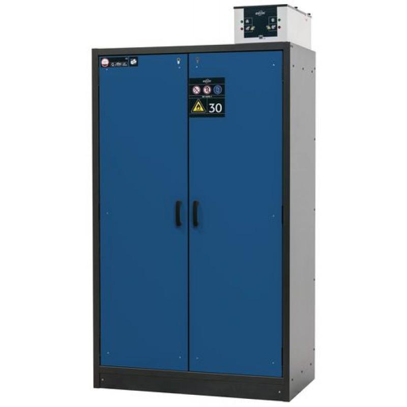 Armoire de sécurité L=1200 avec 3 étagères, coupe-feu 30 min, bleue