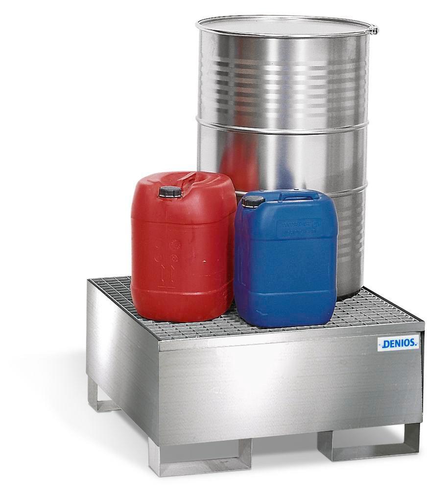 Bac de rétention pour 1 fût de 200 litres, caillebotis galvanisé