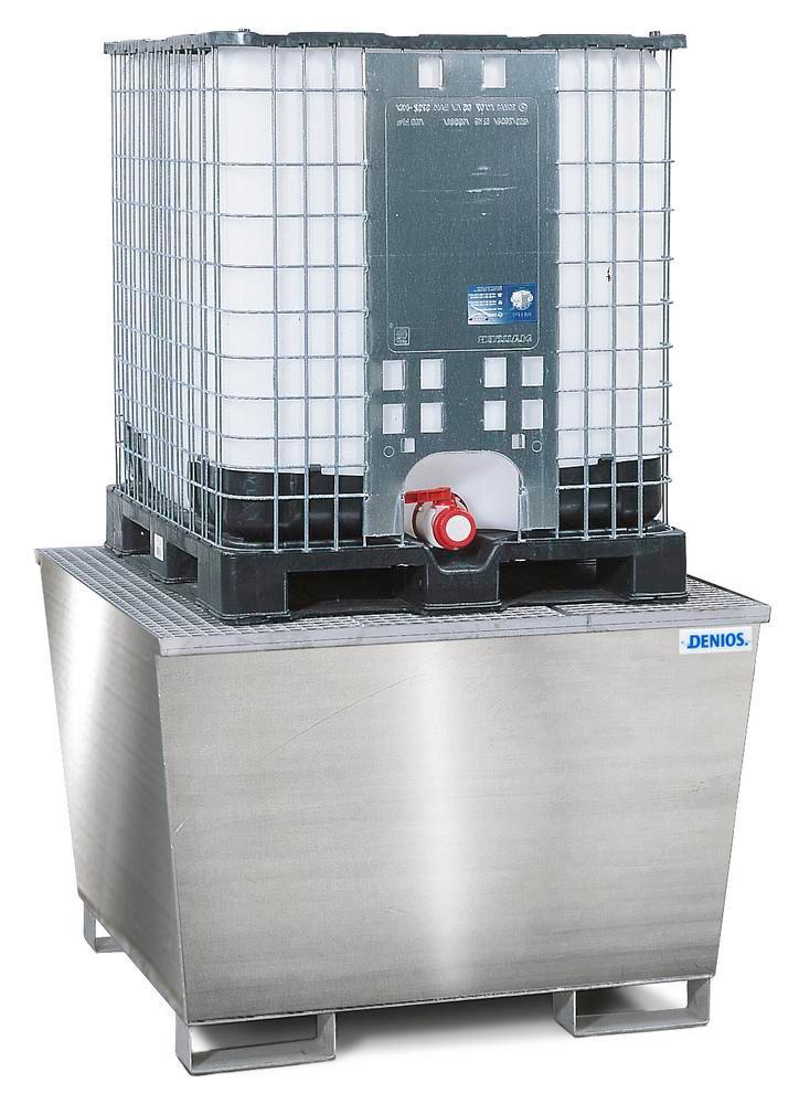 Bac de rétention pour 1 cuve de 1000 litres, caillebotis inox