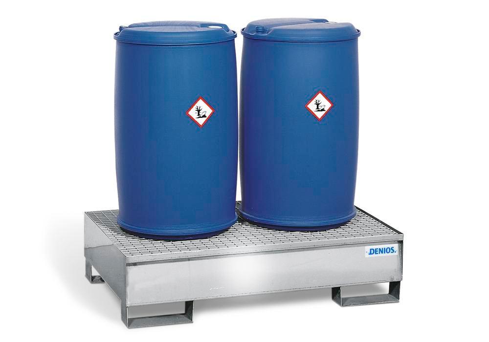Bac de rétention pour 2 fûts de 200 litres, caillebotis galvanisé