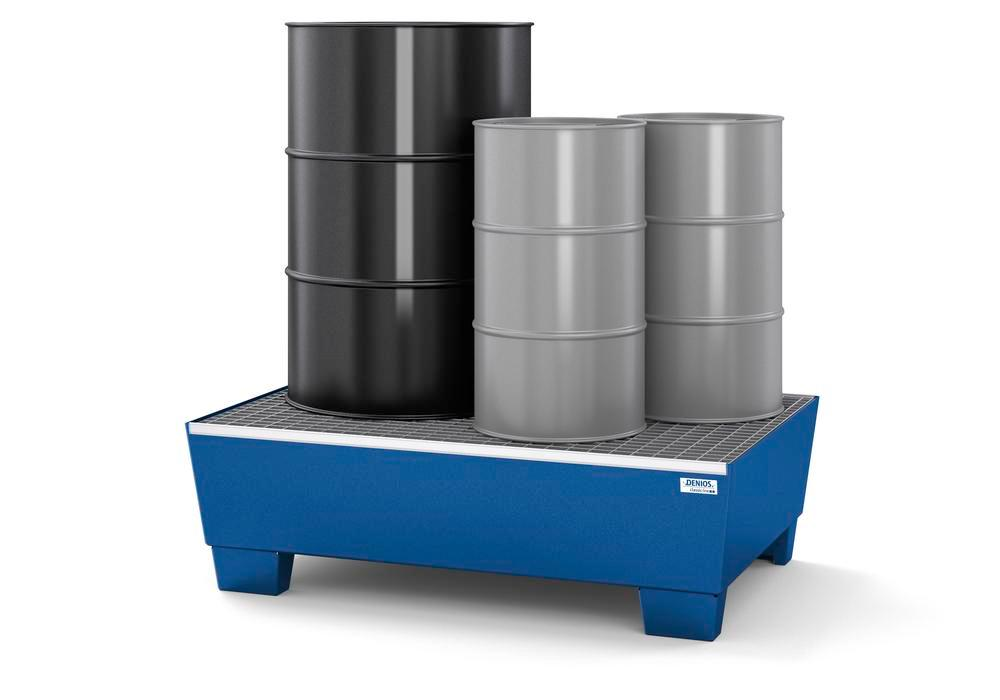 Bac de rétention en acier, peint, pour 2 fûts de 200 litres