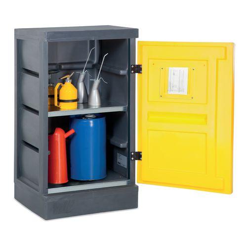 Armoire de sécurité basse, en plastique, avec 2 étagères, L = 600mm