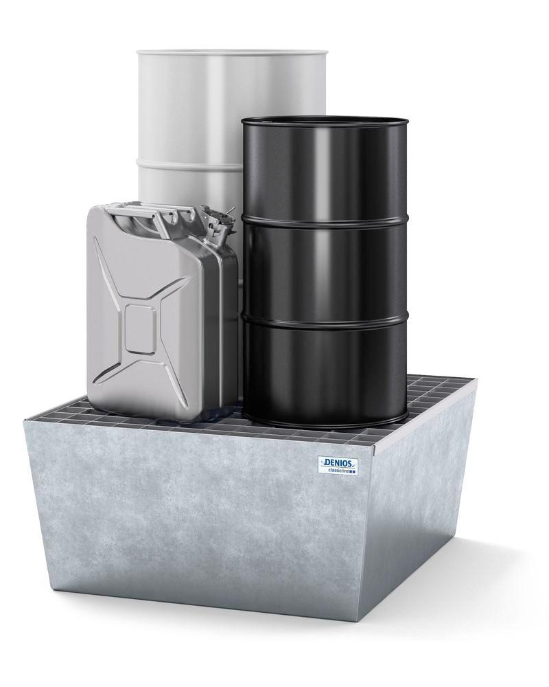 Bac de rétention pour 1 fût de 200 litres, en acier galvanisé
