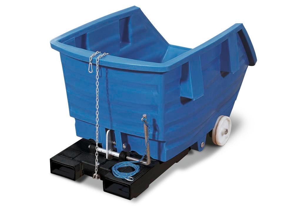 Chariot benne basculante bleue en PE, 300 litres