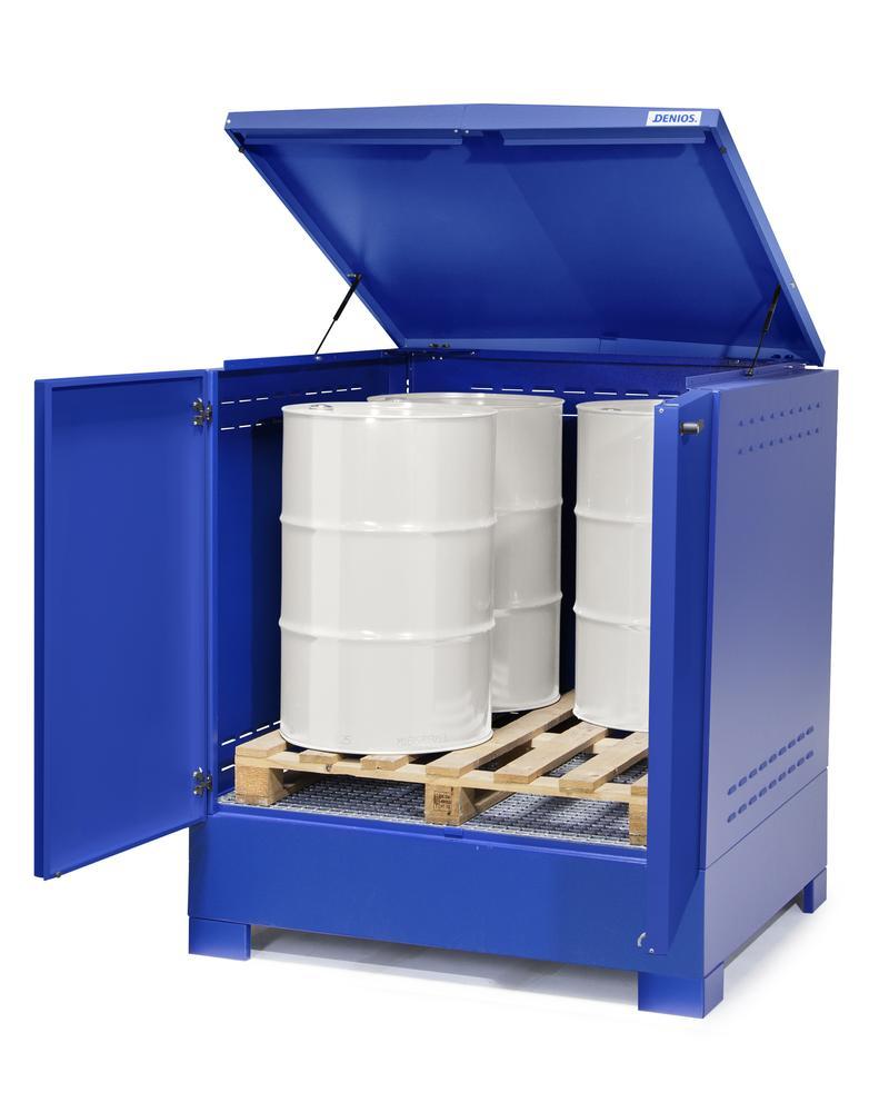 Box de sécurité pour 4 fûts de 200 litres, peint en bleu, bac de rétention XXL