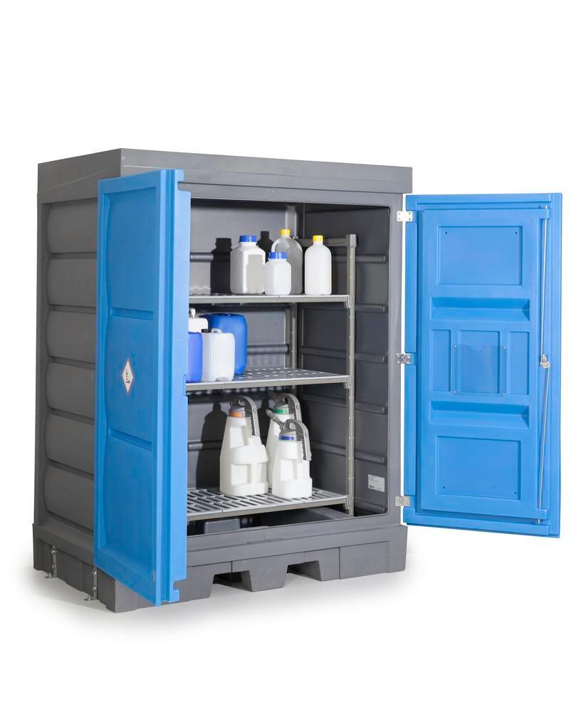 Box de de sécurité avec rayonnage en plastique, pour bidons