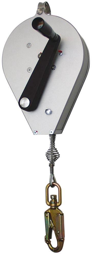 Antichute avec treuil de sauvetage, carter en aluminium et corde acier