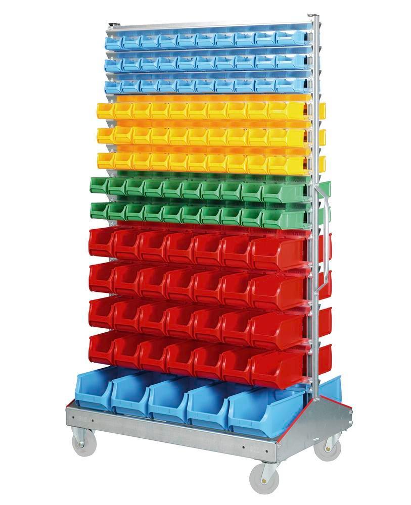 Etagère mobile avec 226 bacs à bec sur 2 côtés