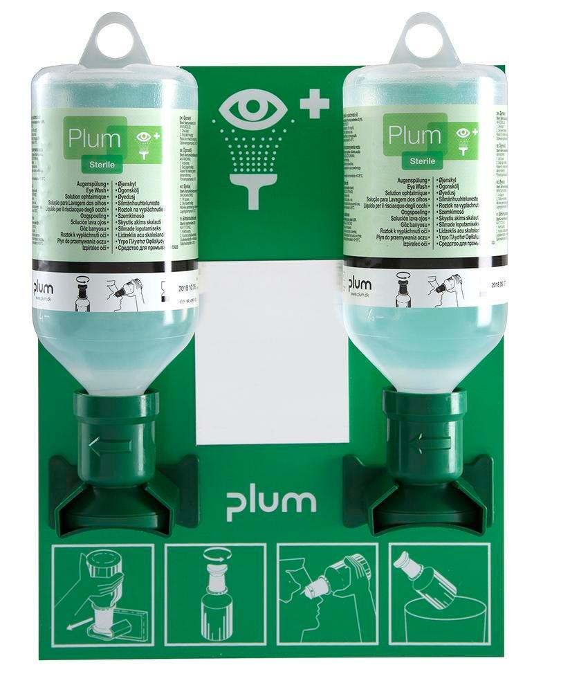 Support mural avec 2 bouteilles rince-?il de 500 ml