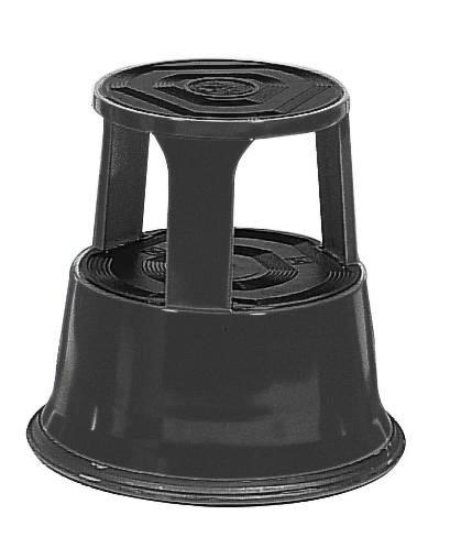 Tabouret-marchepied roulant, en tôle acier, surface caoutchouc antidérapante, noir