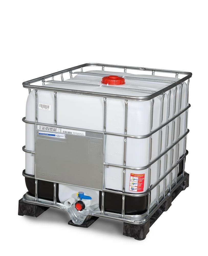 Cuve IBC, palette PE, 800 litres, ouverture DN 150, sortie DN 50