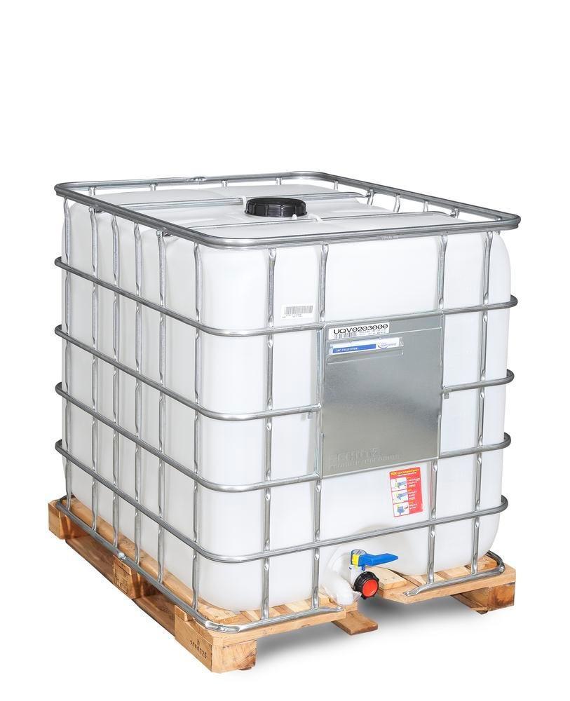 Cuve IBC, palette bois, 1000 litres, ouverture DN 150, sortie DN 50