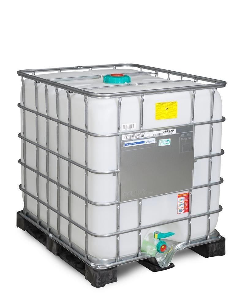 Cuve IBC produits dangereux, palette PE, 1000 litres, ouverture DM 150, sortie DM 50, ATEX