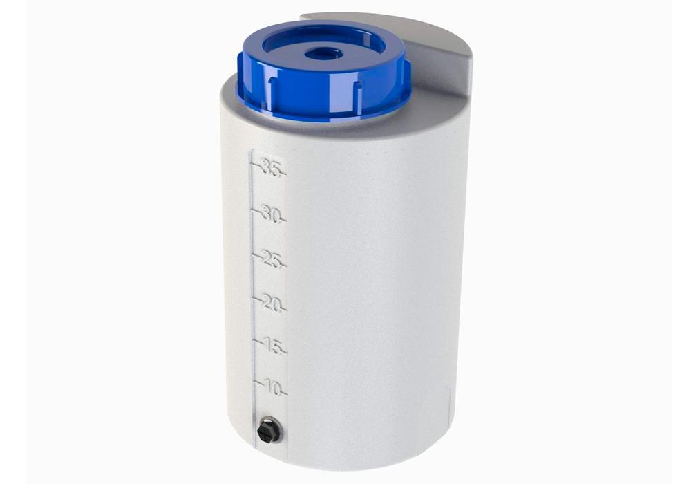 Récipient de stockage et dosage, en polyéthylène (PE), 35 litres, translucide