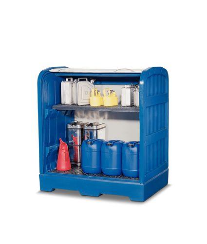 Box de stockage en plastique, avec 1 étagère, volet roulant