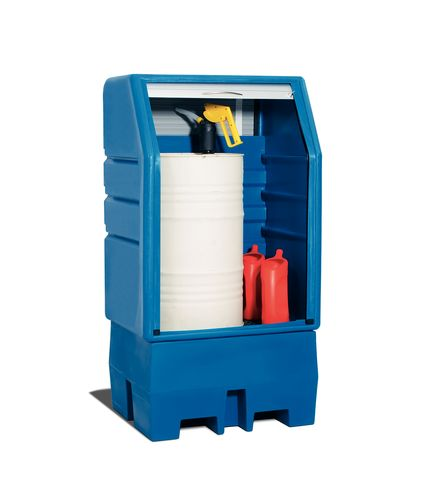 Box de stockage en plastique, pour 1 fût, caillebotis en galvanisé, volet roulant