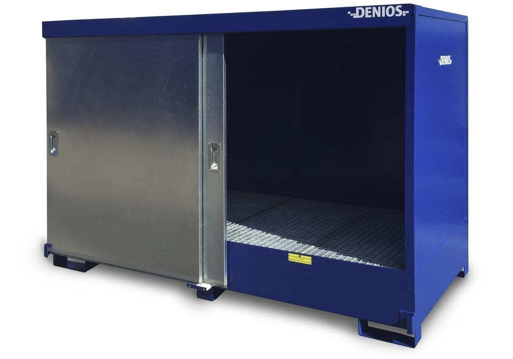Box de stockage 8P2-HK avec portes coulissantes pour 2 cuves de 1000 litres, version peinte