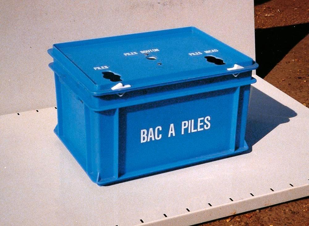 Collecteur de piles usagées, 30 litres, en propylène, 2 ouvertures