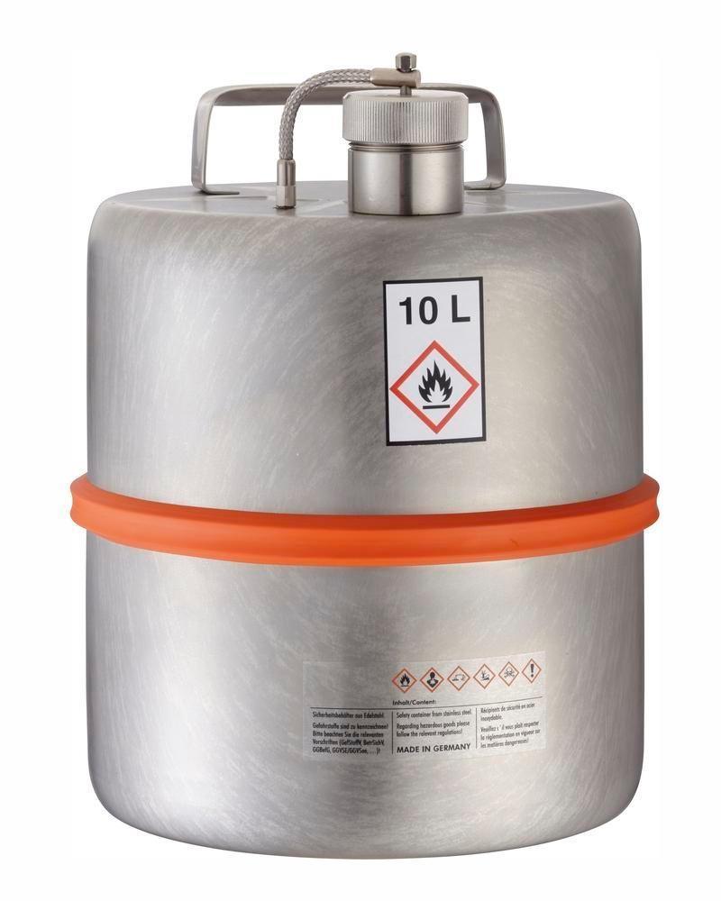 Fût de sécurité, inox, 10 litres