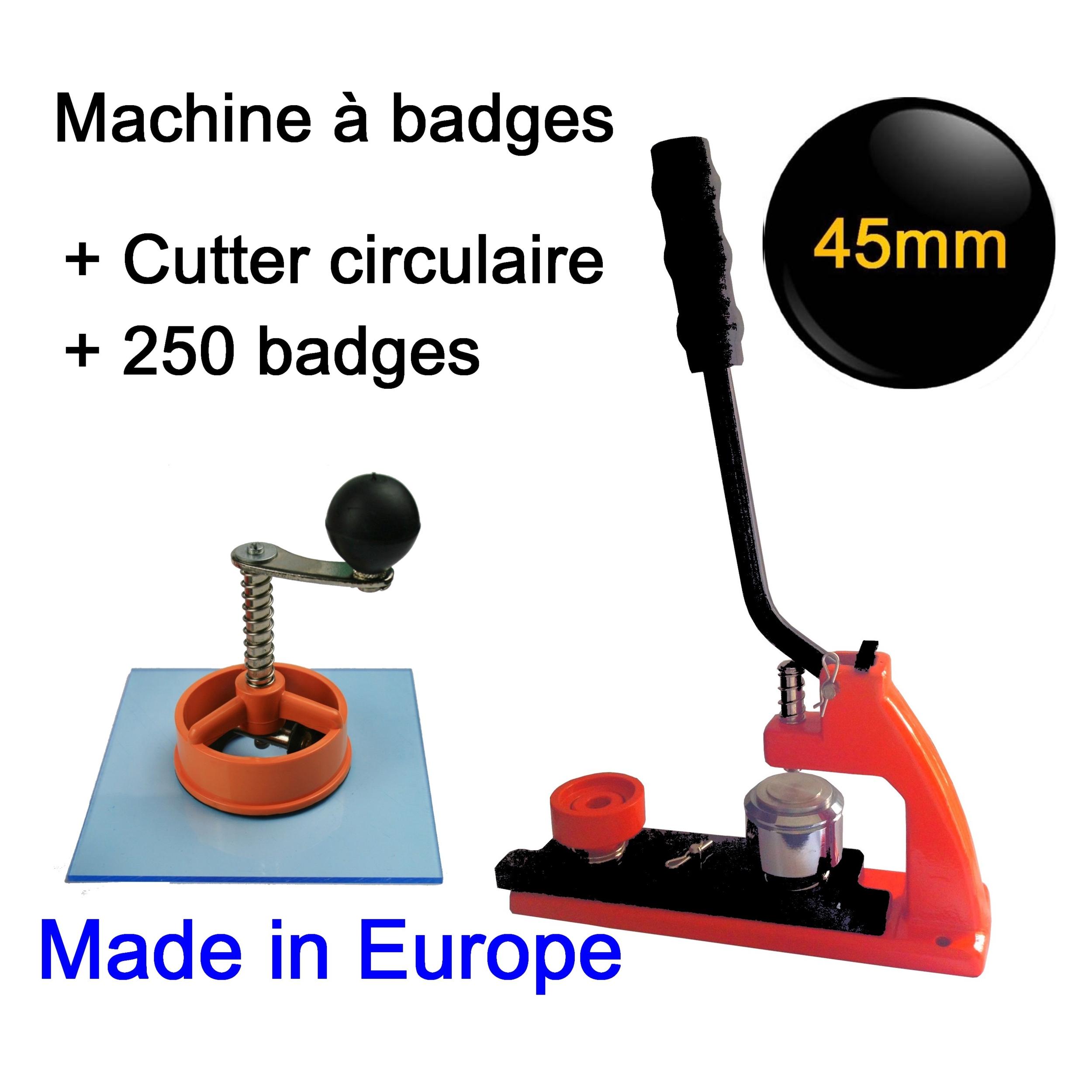 machine presse badges 45mm cutter 250 badges. Black Bedroom Furniture Sets. Home Design Ideas