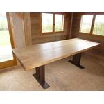 table plateau bois chene massif pietement acier recyclé