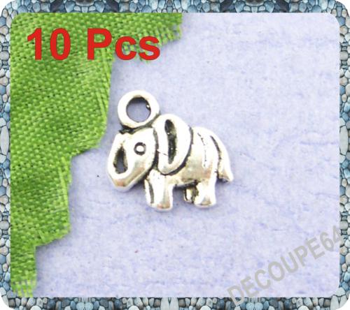 Lot de 10 Breloques éléphants métal argenté 11x11mm