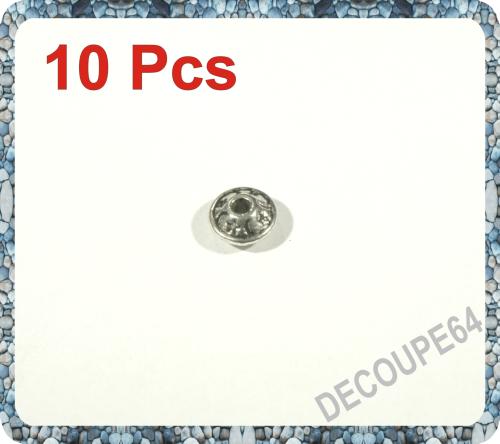 Perles soucoupes métal argenté 8x4mm Lot de 10