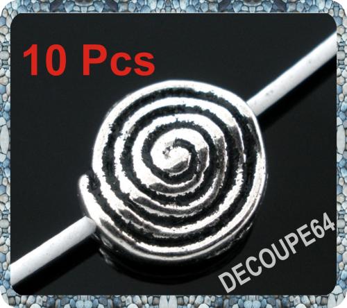 Perles plates métal argenté 12x11mm Lot de 10