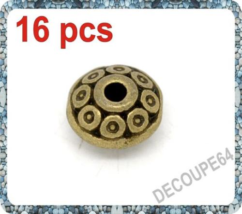 Perles soucoupes métal couleur bronze 6x4mm Lot de 16