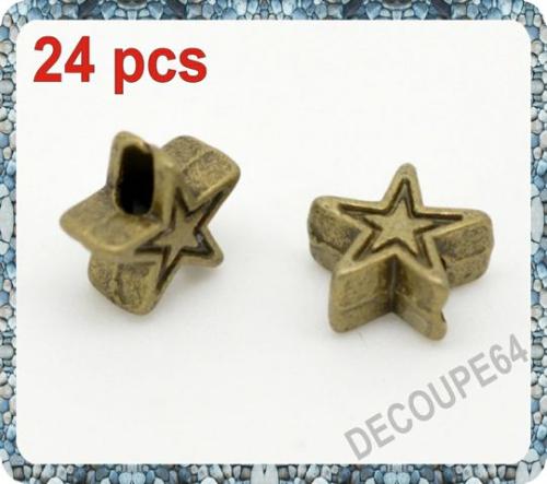 Perles étoile métal couleur bronze 6x6mm Lot de 24