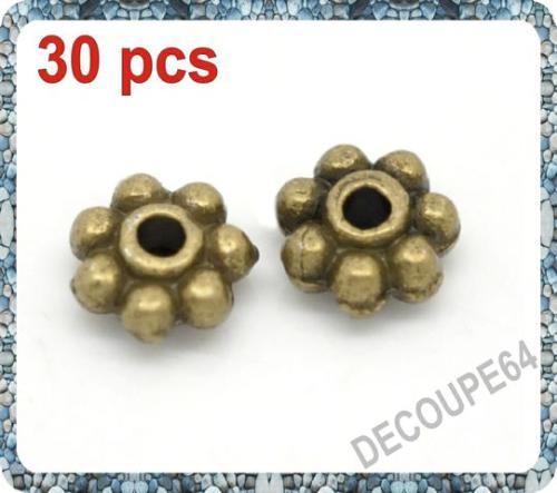 Perles étoiles métal couleur bronze 5x5mm Lot de 30