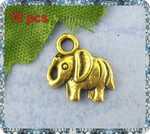 Lot de 10 Breloques éléphant en métal doré 11x11mm