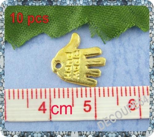 Lot de 10 Breloques main en métal doré 11x12mm