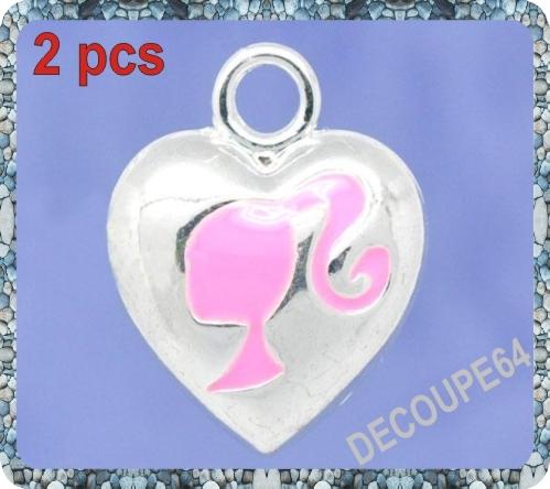 1 Pendentif coeur fille émaillé en métal argenté 19x15mm