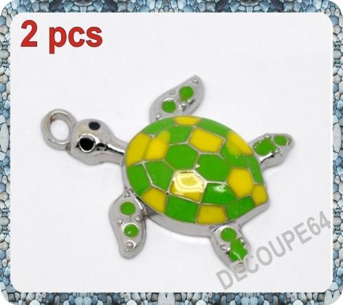 1 Pendentif tortue émaillé en métal argenté 28x24mm