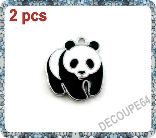 1 Pendentif panda émaillé en métal argenté 23x20mm