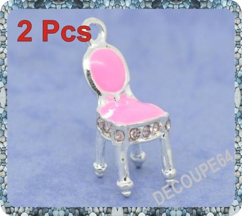 1  Pendentif Chaise 3d en métal argenté 20x9mm