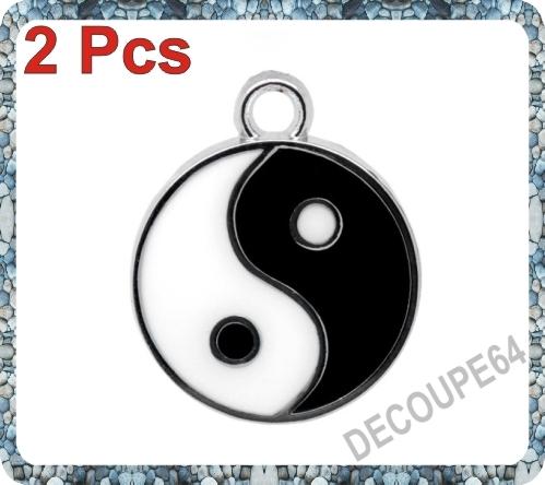 1 Pendentif yin yang émaillé 25x20mm