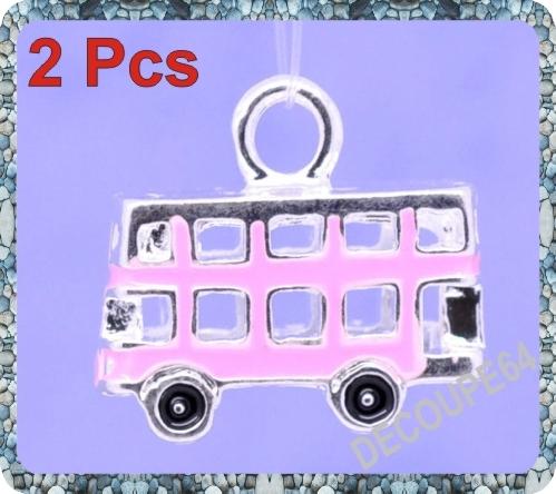 1 Pendentif bus 3D émaillé 17x15mm