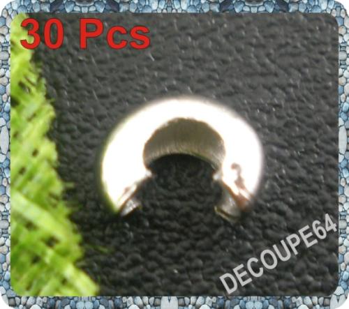 Lot de 30 Cache de 4mm pour perle à écraser métal argenté