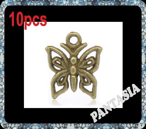 Lot de 10 Breloques papillons en métal couleur bronze 15x12mm