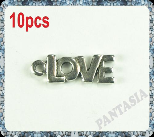 Lot de 10 breloques love en métal argenté 22x8mm